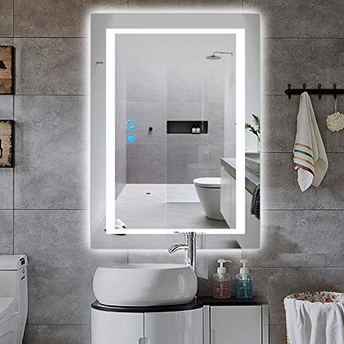 Best Seller Pexfix Wall Mounted Led Mirrors Led Lighted Bathroom Mirror 32 X 24 Inch Large Make Up Mirror Defogger Dimmable Function Ip44 Waterproof Vert In 2020 Bathroom Mirror Wall