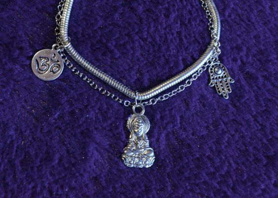 Multi Charm #Buddhist #Bracelet by TheGreenClock on Etsy #boho #jewelry #etsy #om #hamsa