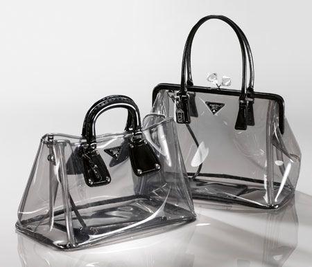 Prada clear bags, cool idea, but I don't really want random folks sketchin on my stuff.