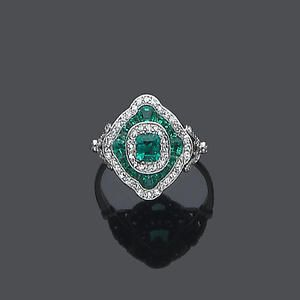Art deco Emerald and Diamond ring.  A unique emerald dazzler!