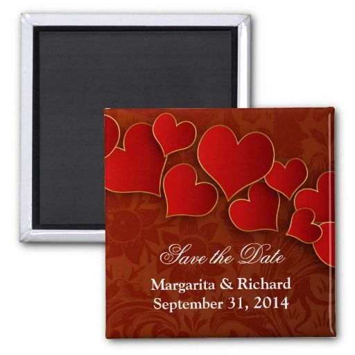 red love hearts chic elegant save the date magnets