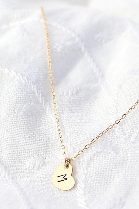 Gold Initial Heart Necklace  Tiny Initial by powderandjade on Etsy, $30.00