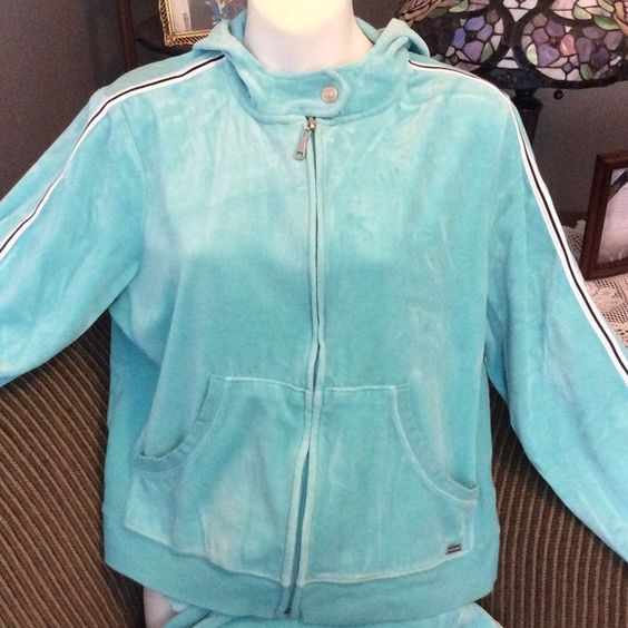 "Gloria Vanderbilt Aqua Velour Sweatsuit Pretty Zip Front Hoodie and Drawstring Sweatpants, Aqua green with Black Stripe.  Pant inseam 29"", size Large, 75% Cotton, 25% Polyester.  Small stain on sleeve and front of jacket.  Not noticeable in pics. Gloria Vanderbilt Tops Sweatshirts & Hoodies"