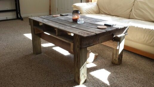 Coffee table made from an old pallet and 4x4 along with for Coffee tables 4x4