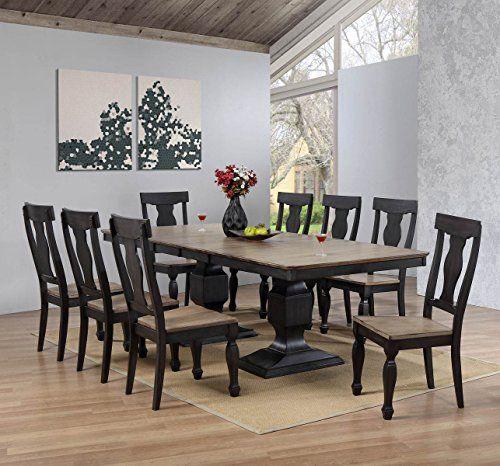 Kings Brand Alleyton 9 Piece Charcoal Oak Wood Dining Room Set