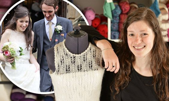 Thrifty bride KNITS her own dress and hunts out crockery from charity shops for £5,000 recession wedding