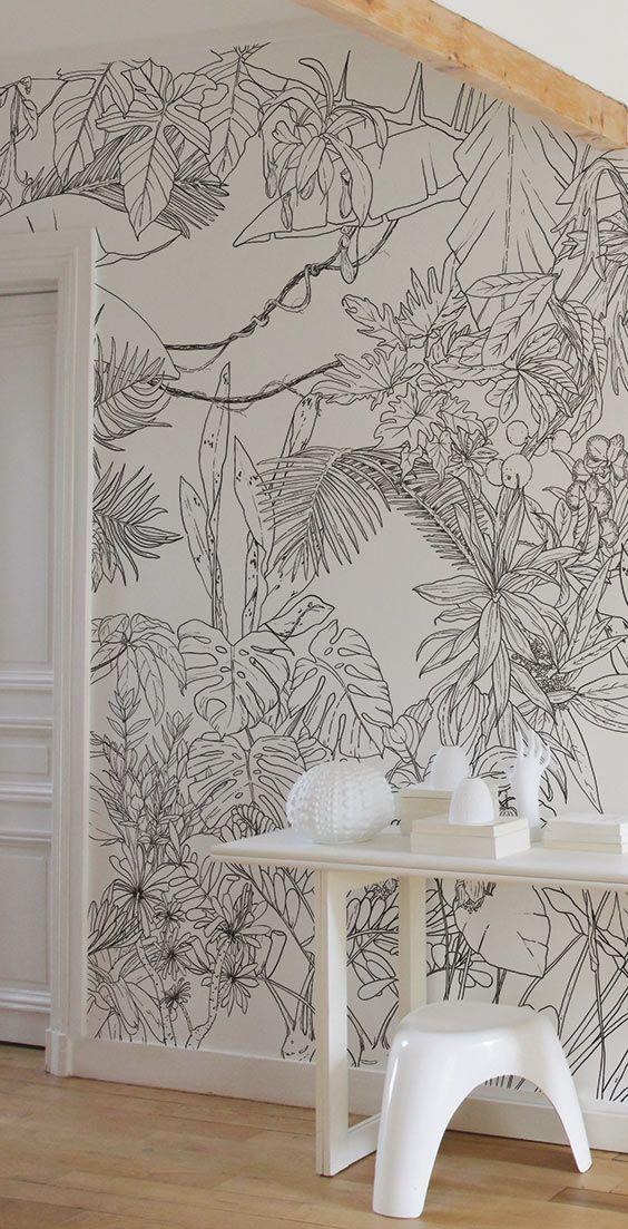 Ohmywall Papier Peint Jungle Tropical Noir Et Blanc Big Panoramique Par Caddous Papier Peint Papier Peint Jungle Deco Murale