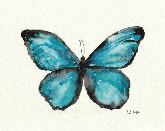 Blue Morpho Butterfly,Fine Art Giclee Print from Watercolor Painting, 8 x 10
