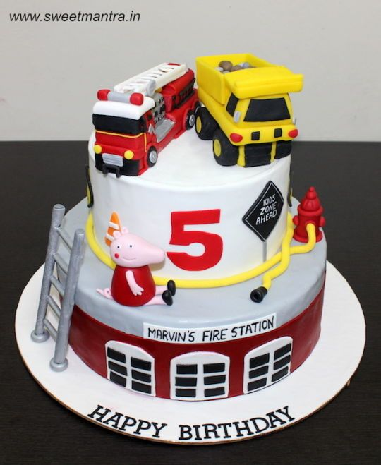 Fire Engine And Dump Truck Theme 2 Layer Customized Designer Fondant Fondant Cakes Birthday Fire Engine Cake Truck Birthday Cakes