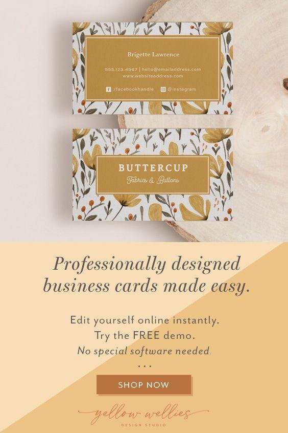Corjl Editable Business Card Template Watercolor Floral Etsy Printable Business Cards Business Card Template Card Template