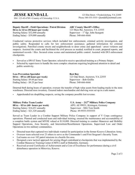 Government Resume Template Word   Resumes Write Sample Galery