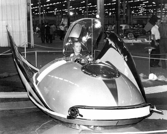 George Barris' X-PAC 400. Basically, it was a simple hovercraft. It was designed with a plenum chamber that, when filled with air, allowed the car to float a few inches off the ground. Barris built small thrusters into the sides which allowed it to be steered, after a fashion. But it was never highly functional as a vehicle; instead, it was the simple, confident futurism of its upswept fins and low-to-the-ground profile which made Barris' air car a hot rod show favorite.