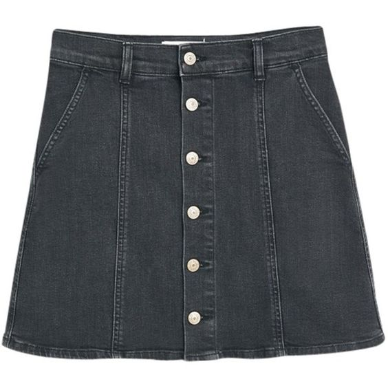 Mango Buttoned Denim Skirt, Open Grey (€49) ❤ liked on Polyvore ...