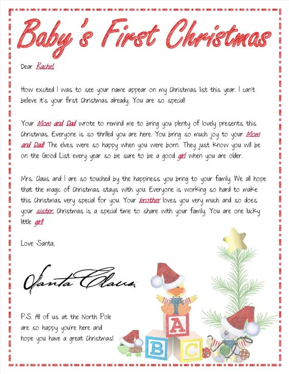 new baby arrival santa letters personalized letter from With baby letter from santa