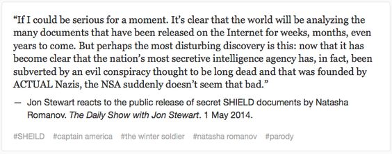 Jon Stewart reacts to the public release of SHIELD documents by Natasha Romanoff || Press Agents of S.H.I.E.L.D.