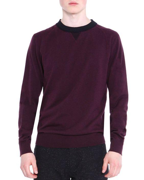 Crewneck Knit Sweater, Wine (Red), Men's, Size: XX-LARGE - Lanvin