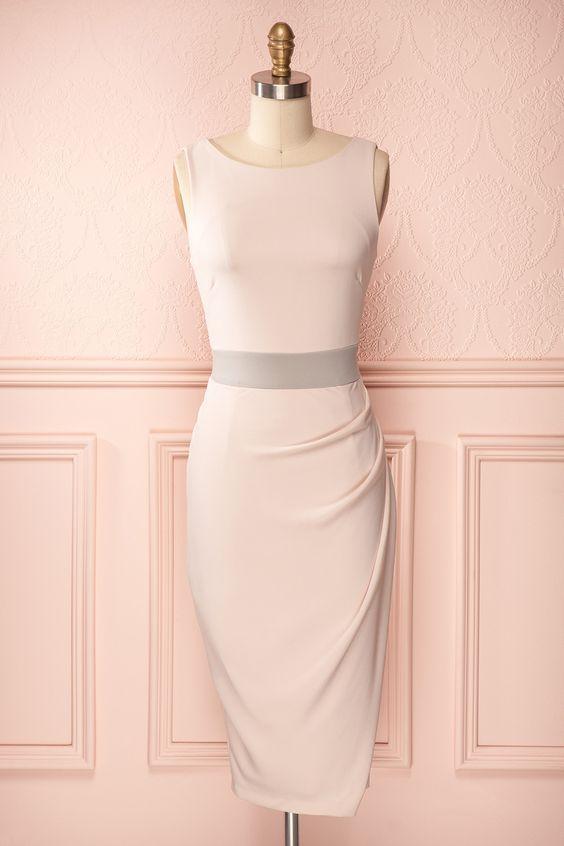 Selina - Mid-length asymmetrical light pink dress with grey waistband