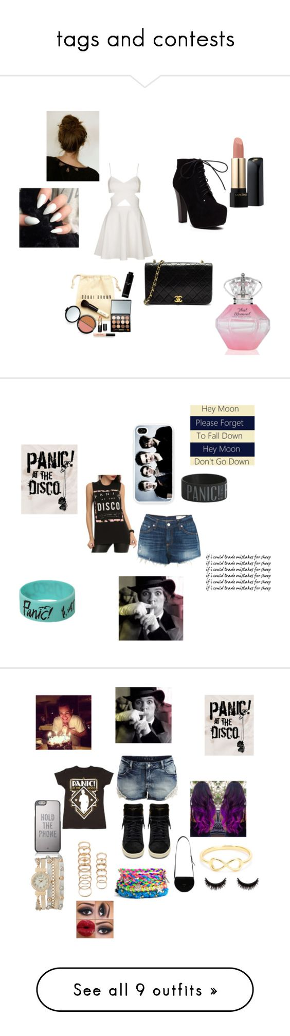 """tags and contests"" by arianagrande1230 ❤ liked on Polyvore featuring Topshop, Chanel, Lancôme, Bobbi Brown Cosmetics, rag & bone, VILA, Yves Saint Laurent, Kate Spade, PB 0110 and Forever 21"