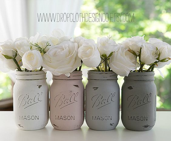 Painted Distressed Mason Jars Pink Blush by dropclothdesignco                                                                                                                                                     More