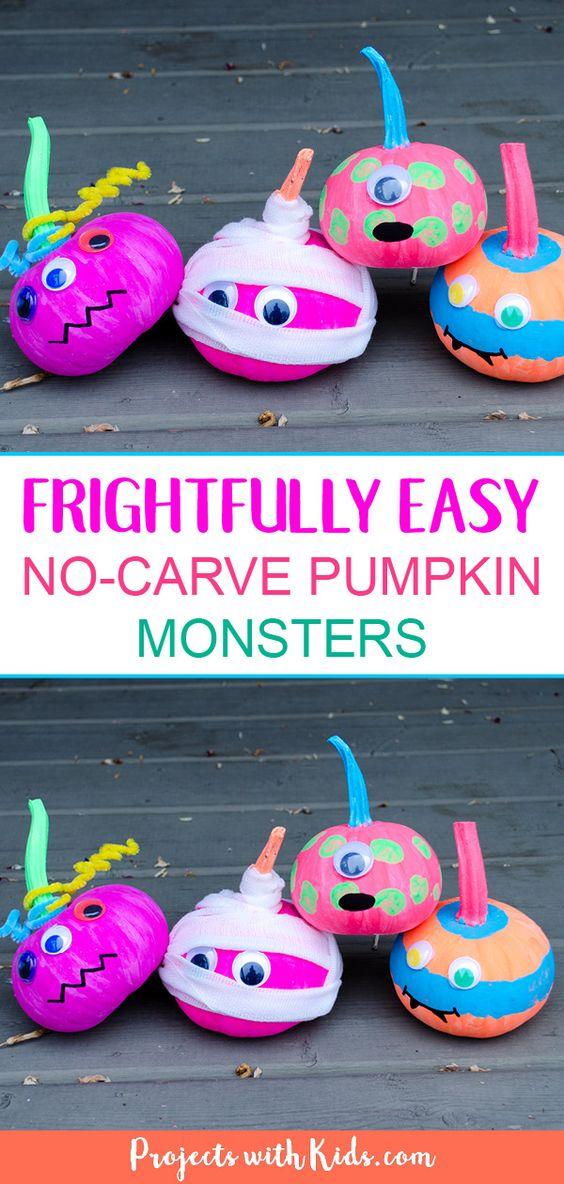 Cute not scary, these easy neon colored no-carve pumpkin monsters are so fun for kids to create! They would make an adorable addition to any front porch this Halloween. #projectswithkids #halloweencrafts #halloweendecorations #nocarvepumpkins #kidscrafts