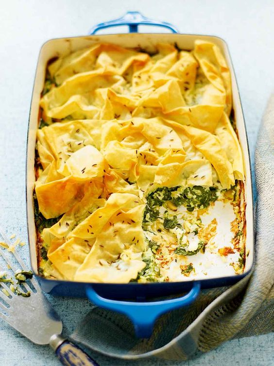 This vegetarian spinach and feta filo pie recipe is budget-friendly, costing around £1.50 per person to make.