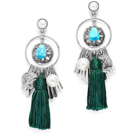 Rental Oscar de la Renta Silver and Green Charm Tassel Earrings ($75) ❤ liked on Polyvore featuring jewelry, earrings, statement earrings, long tassel earrings, green charm, silver tassel earrings and oscar de la renta earrings