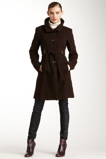 hot chocolate: Via Spiga Brown Funnel Neck Belted Wool Coat | Fall