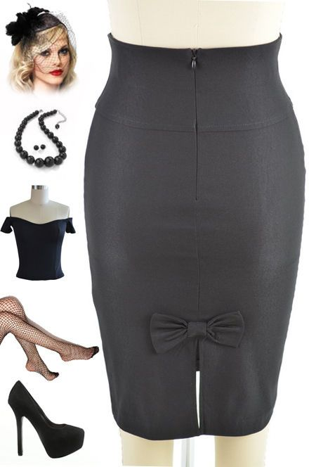 50s Style BLACK High Waisted PINUP PENCIL Skirt with Back BOW Accent Detail
