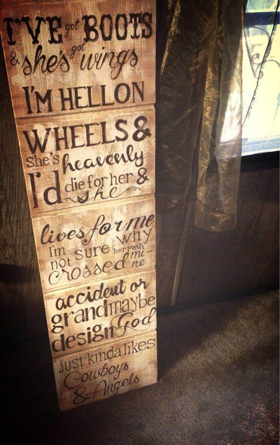 Cowboys & Angels Wooden Sign  on Etsy, $50.00