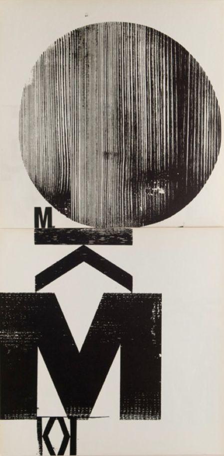 By Wolfgang Weingart, 1962, experiment book, double side, Woodblock, Museum für Gestaltung Zürich.