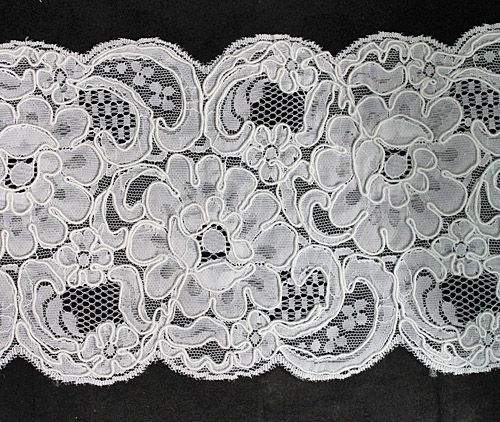 White Alencon Lace Trim 5 inches wide...perfect for wrapping around bridal bouquets!