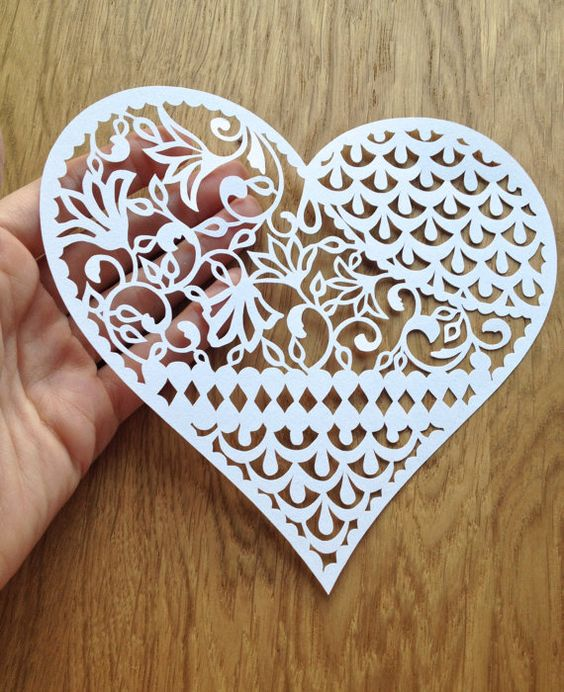 Papercutting heart designs and templates on pinterest for Paper cut out art templates