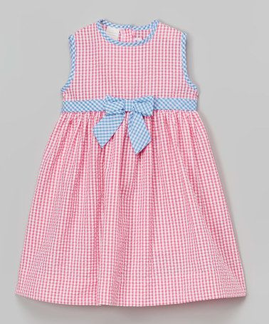 Take a look at this Pink Gingham Seersucker Dress - Infant, Toddler & Girls on zulily today!: