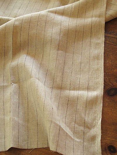 black pin-striped linen fabric