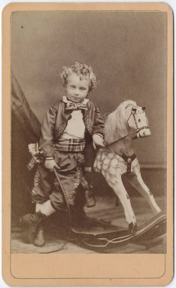 horse boy with rocking horse grey vintage photo photograph card: