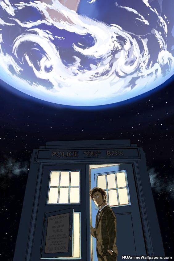 10 & the TARDIS. Doctor Who.