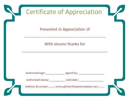 organization certificate of appreciation template