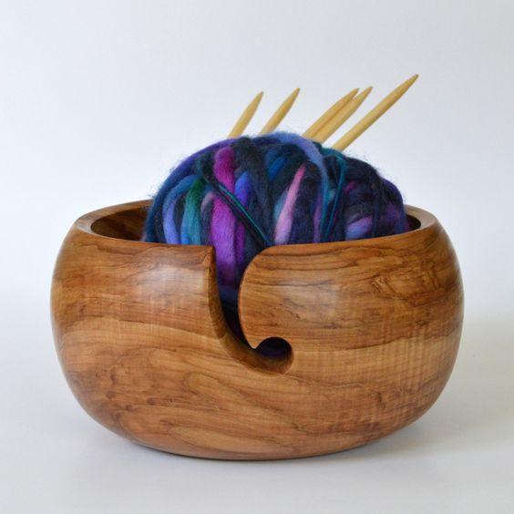 Knitting Bowls Wood : Reserved wooden yarn bowl yarns and bowls