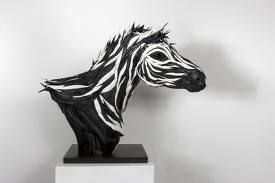 Zebra tire sculpture