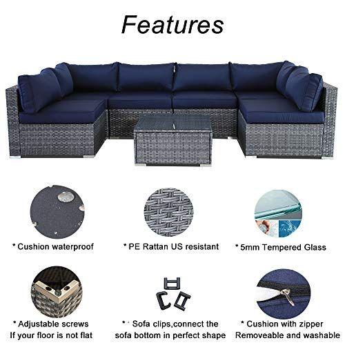 Outdoor Furniture 7pcs Patio Grey Conversation Set Garden Sofa Set Sectional Couch With Navy Cushion In 2020 Rattan Outdoor Furniture Garden Sofa Set Garden Sofa