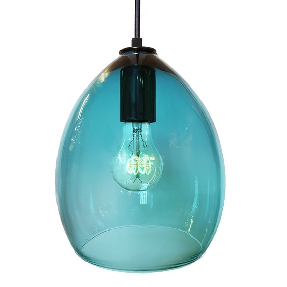 blown aqua blue glass pendant light pendants blue