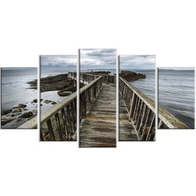 DesignArt 'Wooden Pier on North Irish Coastline Sea Bridge' 5 Piece Wall Art on Wrapped Canvas Set