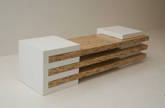 side and back base combination of Contemporary Bench in Concrete and Wood Combination