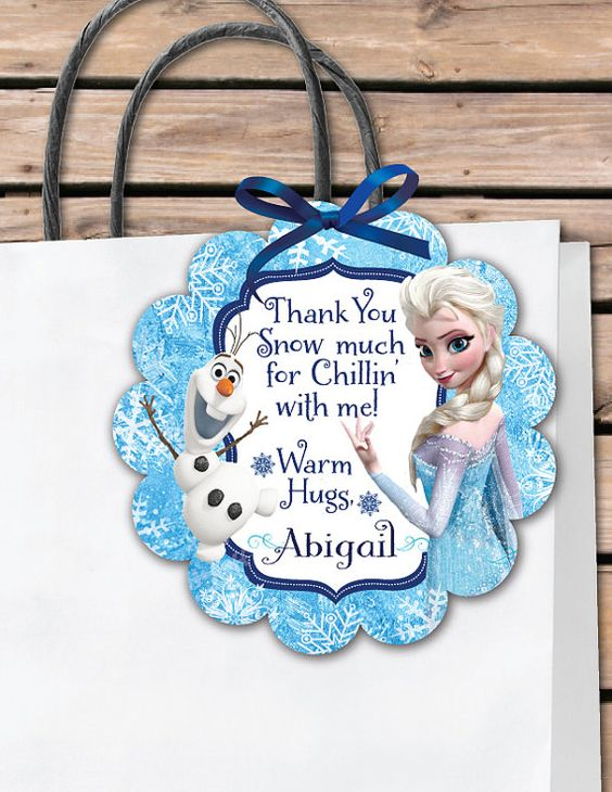 It's just a graphic of Dynamic Frozen Party Bag Labels