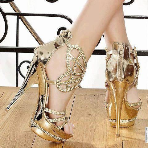 golden-color-high-heel-shoe for wedding-and-brides | Projetos a ...