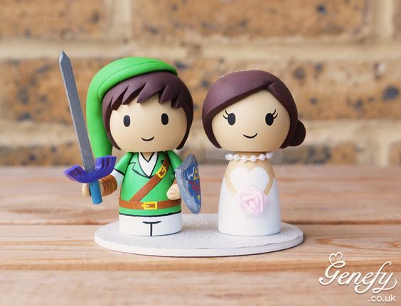 Legend Of Zelda inspired wedding cake topper by Genefy Playground. https://www.facebook.com/genefyplayground: