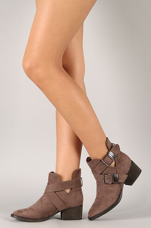 Breckelle Bronco-11 Suede Buckle Cut Out Ankle Bootie $34. Maybe ...