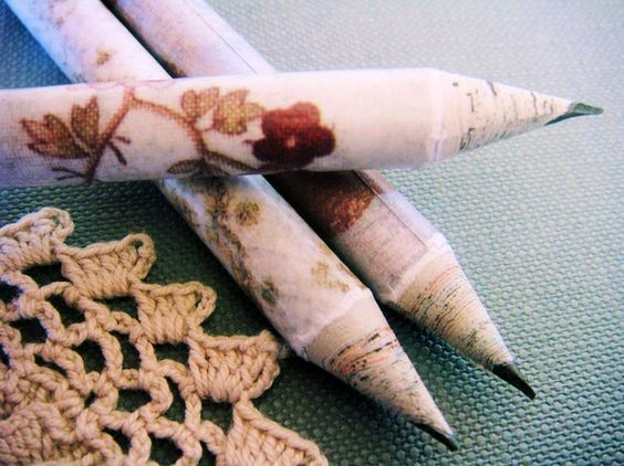 handmade recycled paper pencils