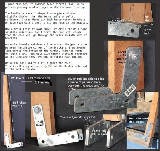 Instructions For A Tool That Helps You Tear Pickets Off Of