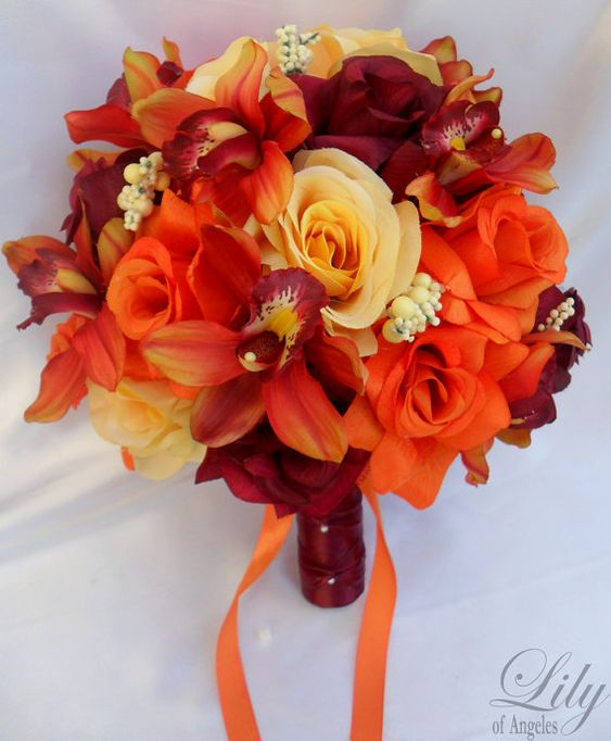 Wedding Bouquet, Bridal Bouquet, Flower Bouquet, Wedding Flowers, Silk Bouquet, Silk Flower, Orange,